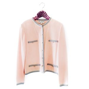 ✨Luxury✨ St. John blush pink knit jacket